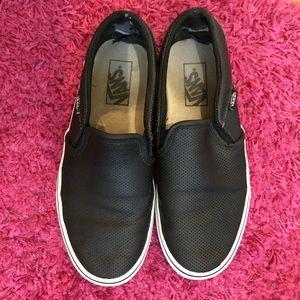 Vans black leather perforated slip on sneakers